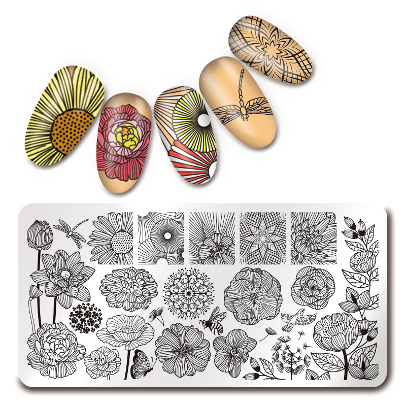 1Pc Rectangle Nail Art Stamping Plate Line Flower Geometry Pattern Nail  Image Printing Plate Template