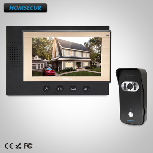 HOMSECUR 7 Wired Video&Audio Smart Doorbell+Black Camera for Home Security (TC021-B+TM701-B)