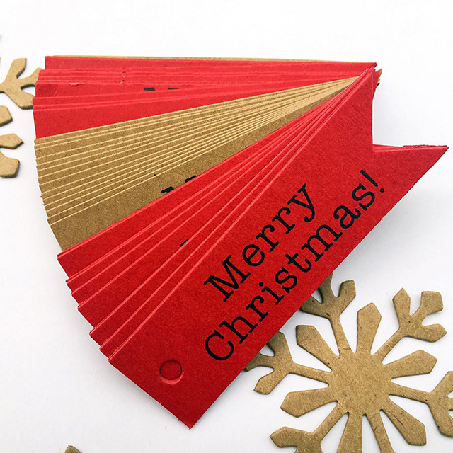 100Pcs DIY Merry Christmas Paper Gift Tags Decorative Label Hanging Cards Home Party Christmas Decorations