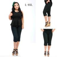 Plus Size 8XL 7XL L Summer Calf length Denim Pants Woman's Elastic High Waisted Slimming Casual Jeans Feminina Cintura Alta