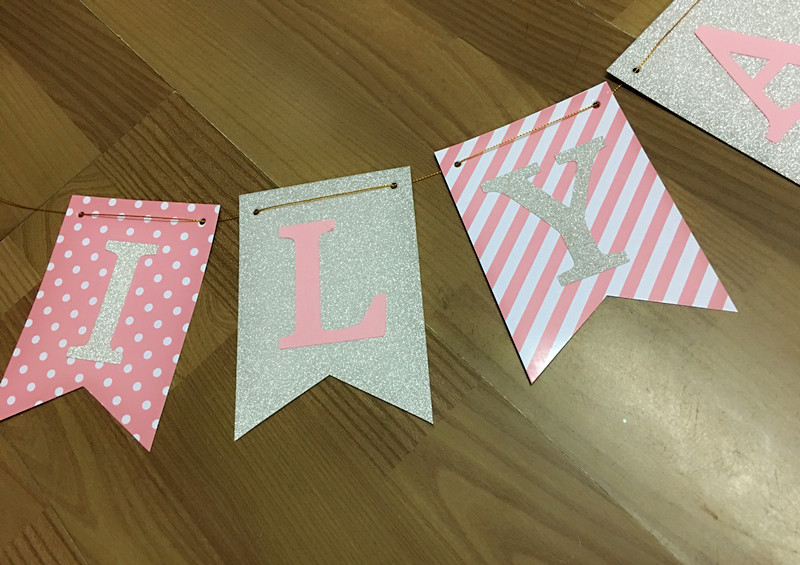 UP TO 5 LETTERS GIRLS PERSONALISED BIRTHDAY PARTY BANNER PINK AND GOLD BUNTING