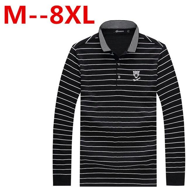 8XL 7XL New Fashion Mens Polo Shirt Striped long sleeve Polo Mens Clothing spring autumn 95% Cotton Men Polo Shirt free delivery