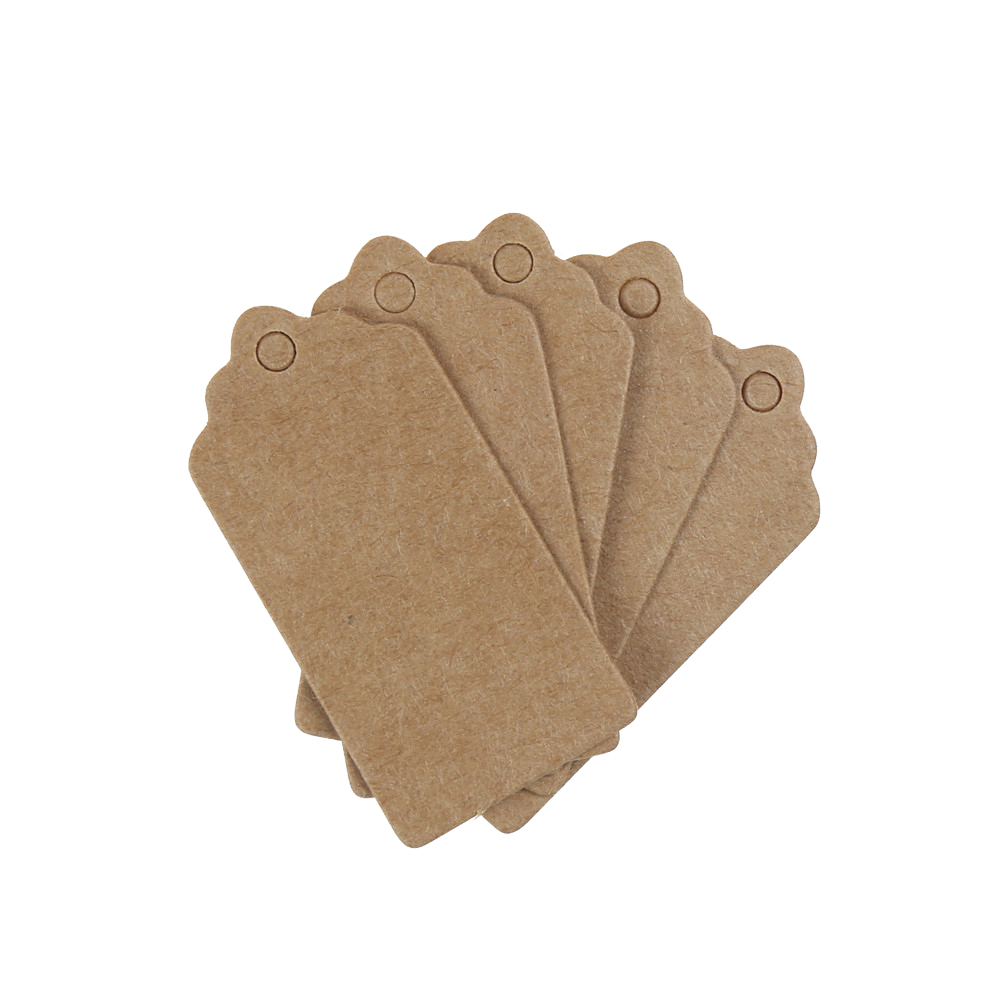100x Kraft Paper Gift Hang Tags Wedding Scallop Label Blank Xmas Scrapbooking