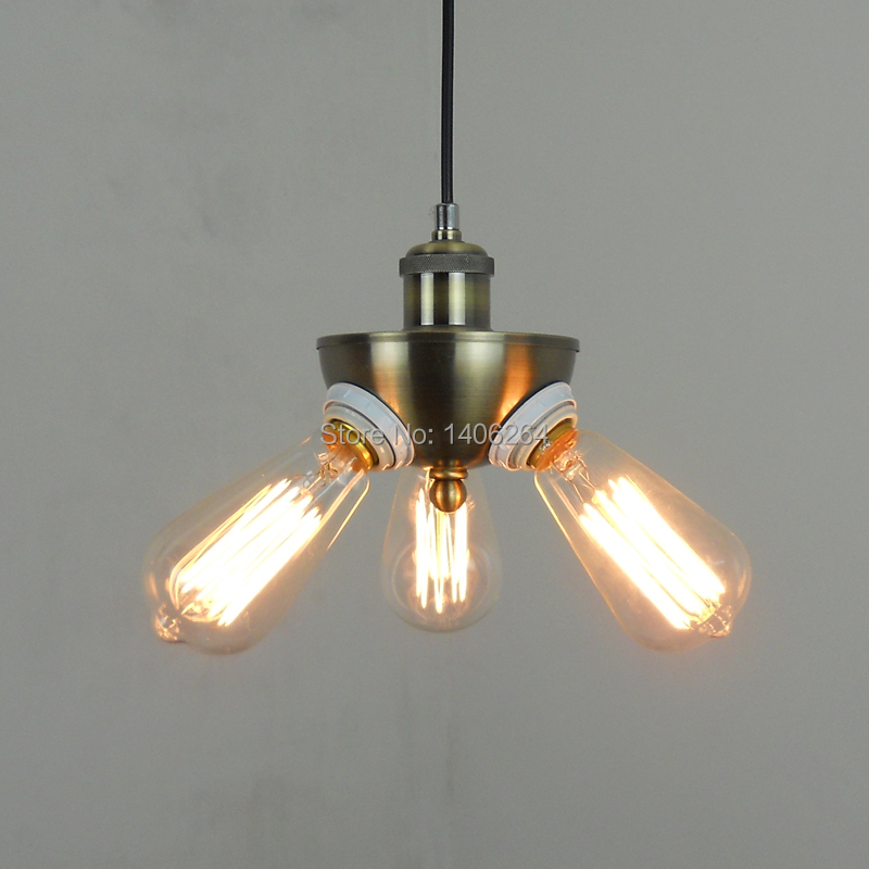 RH Loft Edison Vintage Style Industrial Three Head Droplight Ceiling Lamp For Cafe Bar Hall Coffee Shop Club Store Restaurant edison vintage style e27 copper screw rotary switch lamp holder cafe bar coffee shop store hall club