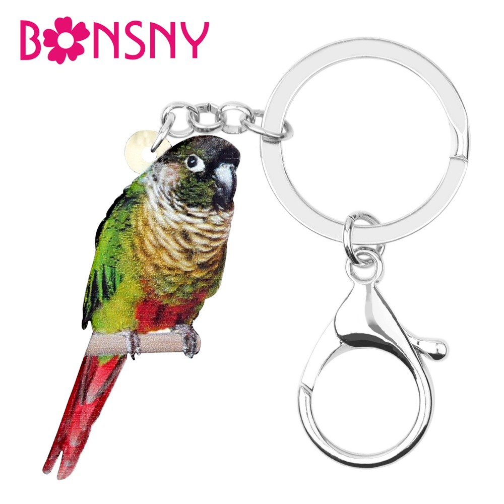 Bonsny Acrylic Green-cheek Conure Bird Key Chain Keychain Rings Fashion Animal Jewelry For Women Girl Bag Pendant Decoration