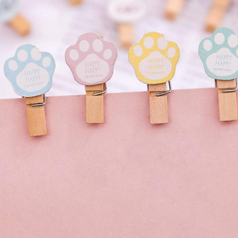 10 Pcs set Colored Wooden Clip Christmas Decor Cute Cartoon Memo Paper Clips Hemp Ropes Diy Photo Wall Small Wooden Clothespin in Frame from Home Garden