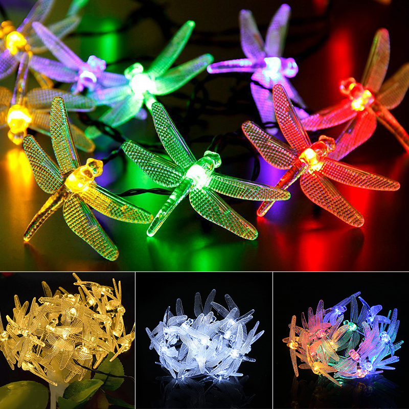 4M 20 LEDs Solar Dragonfly String Fairy Lights Outdoor Multicolor Dragonfly Shape Garden Patio Decor Energy Saving Lighting