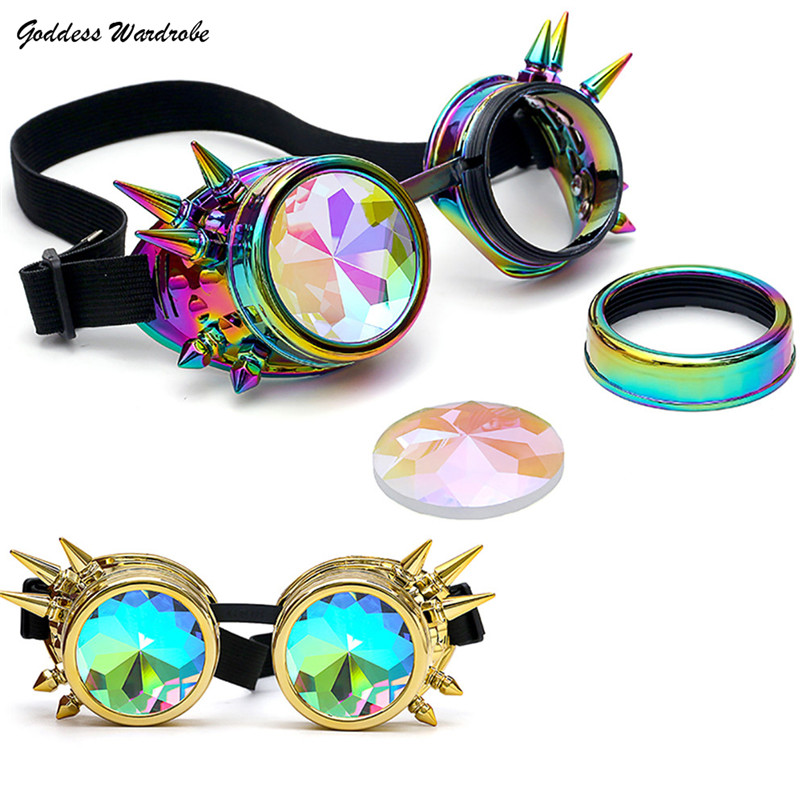 Kaleidoscope Glasses Unisex EDM Sunglasses Diffracted Lens Multi Rivet Round Rave Festival Party 2018 NEW Free Shipping 4D26#F#