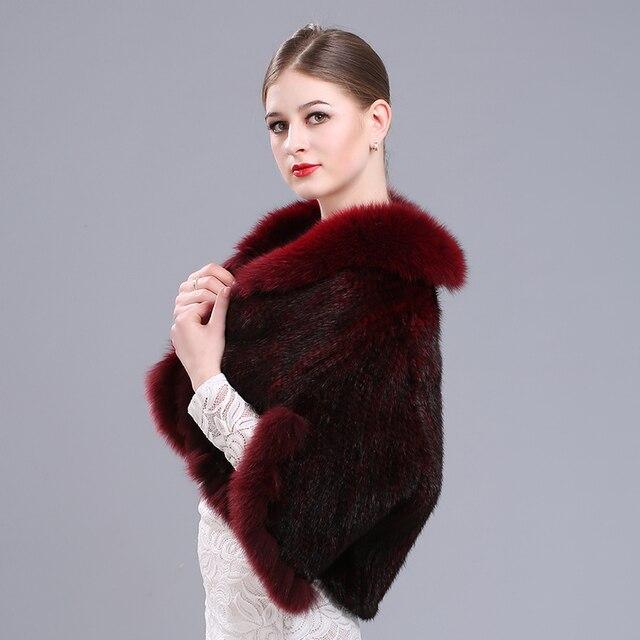 Gola de pele de raposa casaco de pele de vison vison malha xale parágrafo  curto casaco 3f954efdea3