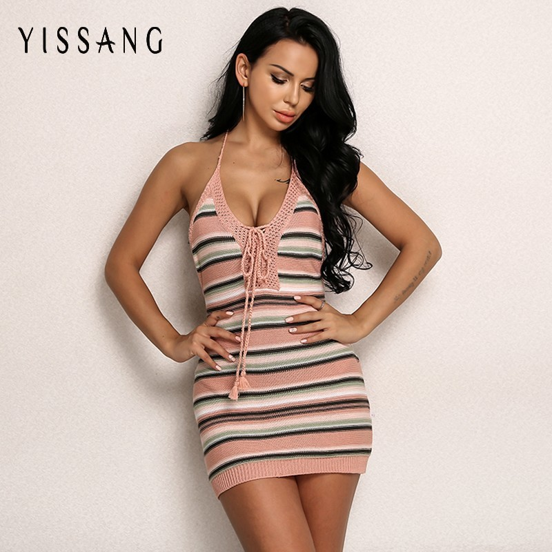 da17fbfecdf Yissang Knitted Dress Women Summer Sexy V Neck Mini Dresses Backless Autumn  Bow Tie Woman Dress
