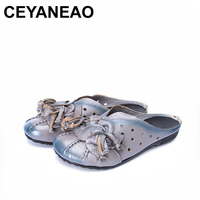 CEYANEAO Women Sandals 2018New Female Fashion Soft Genuine Leather Hollow Out Moccasins Mother Shoes Flat Sandals