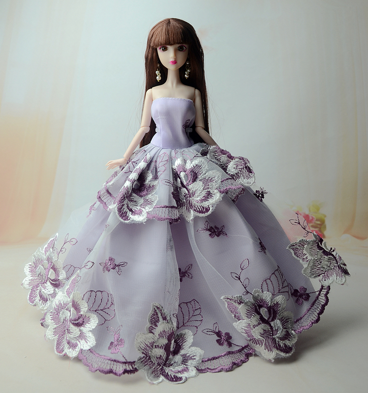 NK One Pcs Princess Doll New handmake wedding Dress Fashion Clothing Gown For Barbie Hot Dolls Accessories Best Gift 047A 2016 hot now fashion original edition sofia the first princess doll vinyl toy boneca accessories doll for kids best gift