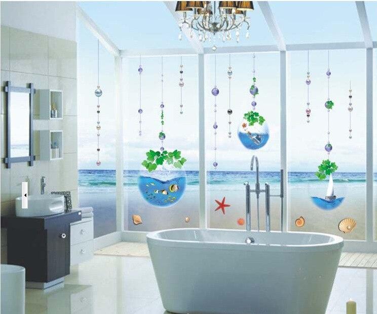 Crystal fish ba o cortina de cuentas de cristal de ventana - Pegatinas para cortinas ...