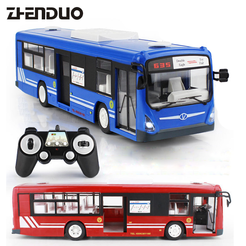 цена на ZhenDuo Toys E635-0012.4G Remote Control Bus Car Charging Electric Open Door RC Car Model Toys for Children Gifts