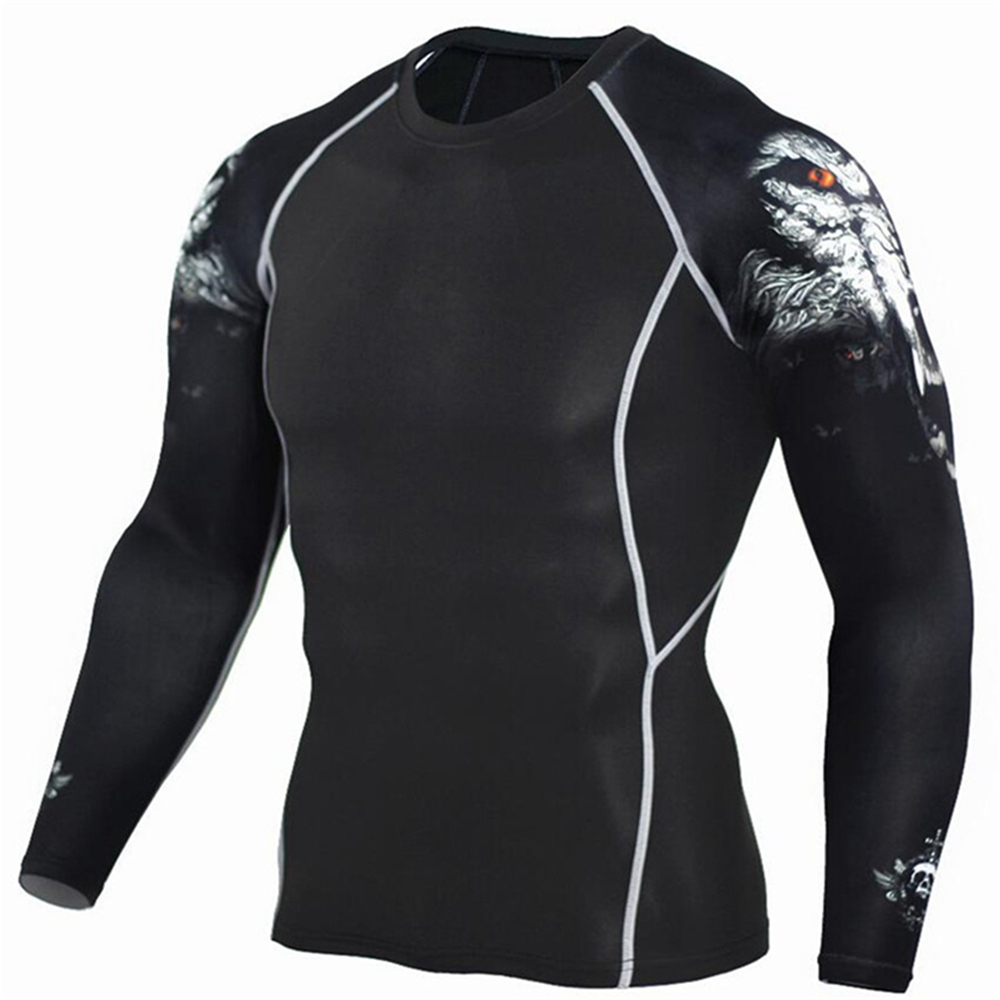 2017 Mens Fitness T Shirts 3D Wolf Printed Long Sleeve Compression T-Shirt Bodybuilding Crossfit Clothing Running Tight Top 4XL