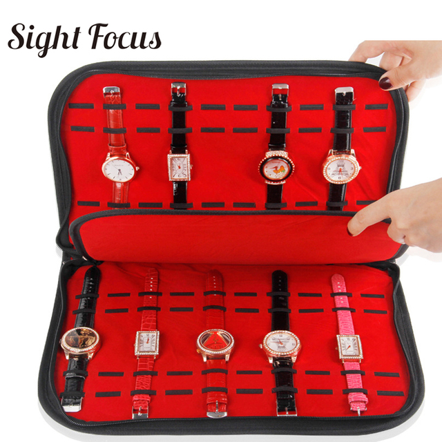 20/กริดนาฬิกา Collector Organizer สายนาฬิกาสีดำ PU นาฬิกากล่องซิปจอแสดงผลนาฬิกาข้อมือถาด