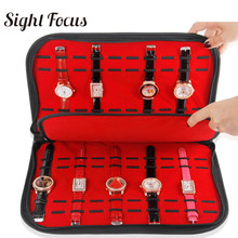 20 Slots/Grids Watch Band Collector Organizer Watch Strap Case Black Pu Watch Storage Box with Zipper Wristwatch Display Tray(China)