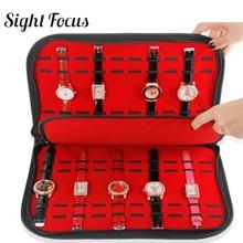 Boîtier organisateur de bracelet de montre Pu noir avec fermeture éclair, plateau daffichage de montre 20 fentes/grilles, collecteur bracelet de montre