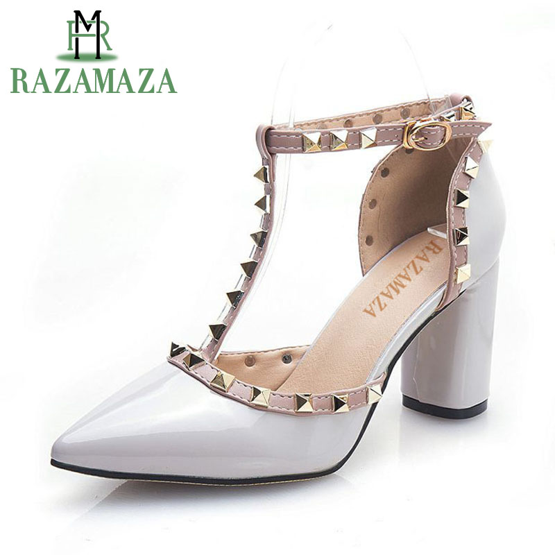 RAZAMAZA Real Leather Rivets Fashion High Heel Sandals Square Heel T-Strap Pointed Toe Sexy Party Women Shoes Size 33-43 coolcept size 33 43 women real leather high heel sandals open toe ankle strap rivets summer shoes woman party club sandal