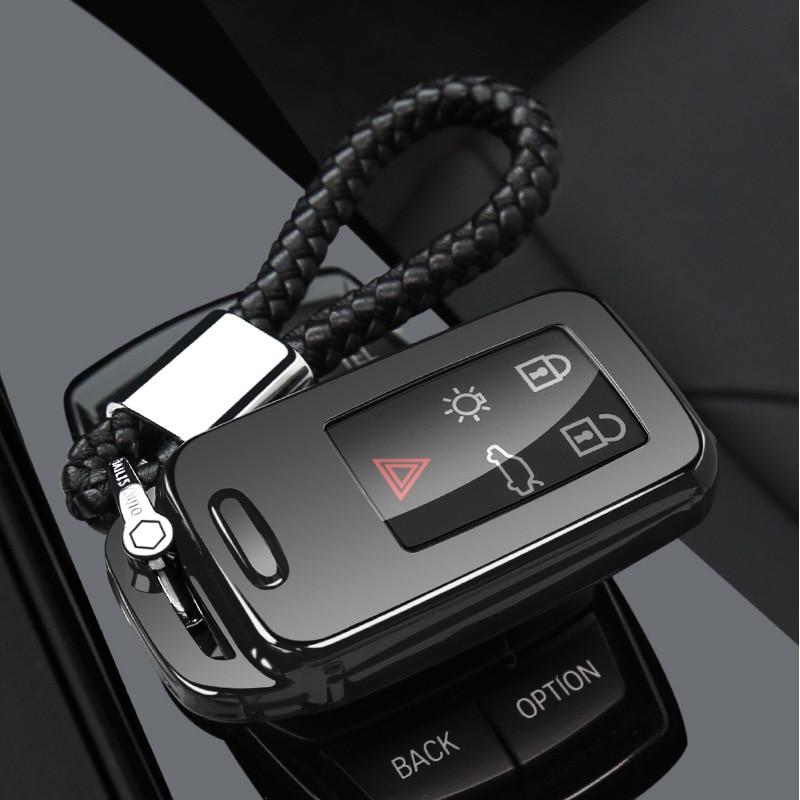 Защитный чехол ключа автомобиля чехол для VOLVO S60L S80L XC60 S60 V60 s90 cx60 xc90 vx90 стайлинга автомобилей смарт-ключ оболочки крышки брелок держатель - Название цвета: black chain set