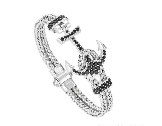 (10ks) Nová móda ATOLYESTONE bílé zlato kotevní náramek magneta spona růžové zlato / zlato / stříbro drát pro muže náramek náramek