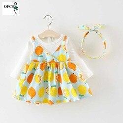 Новое лимонное детское платье для девочек с длинным рукавом для крещения, одежда для девочек, праздничные платья принцессы, платье для дня р...