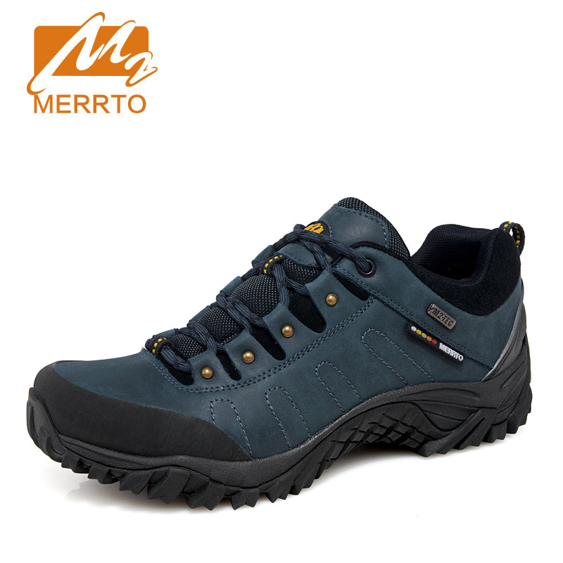 MERRTO Men's Waterproof Leather Hiking Shoes Outdoor Trekking Boots Camping Climbing anti-skid wear-resistant Hunting Shoes kelme 2016 new children sport running shoes football boots synthetic leather broken nail kids skid wearable shoes breathable 49