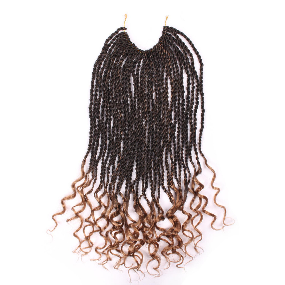 DELICE 30 Roots Long Curly Senegalese Twist Crochet Braids Ombre Light Brown Hair Extensions Synthetic Braiding Hair 18inch