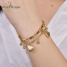 Nextvance – Bracelets simples en acier inoxydable pour femmes, chaîne à maillons en forme de cœur, bijoux