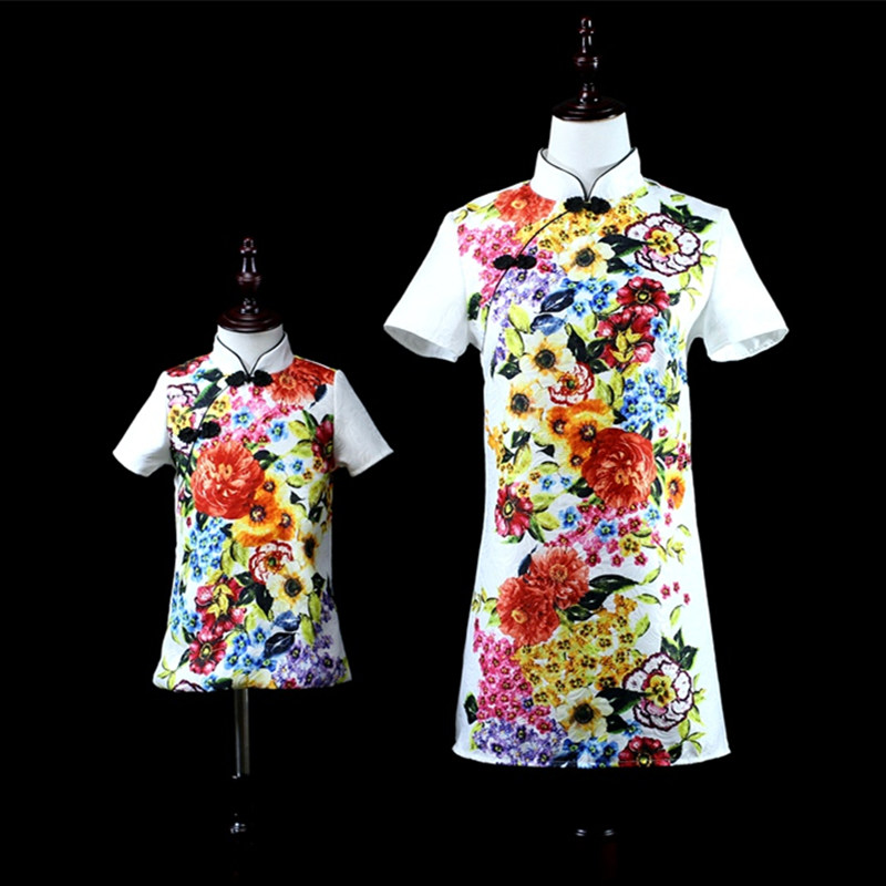 где купить Brand kids straight A-line family look clothes mother baby girls Chinese Improved cheongsam dress mom and daughter party dresses по лучшей цене