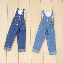 for middle joint blyth Doll blue jeans trouser lace white clothes Tshirt umpsuits 20cm doll 1/6 dolls free shipping