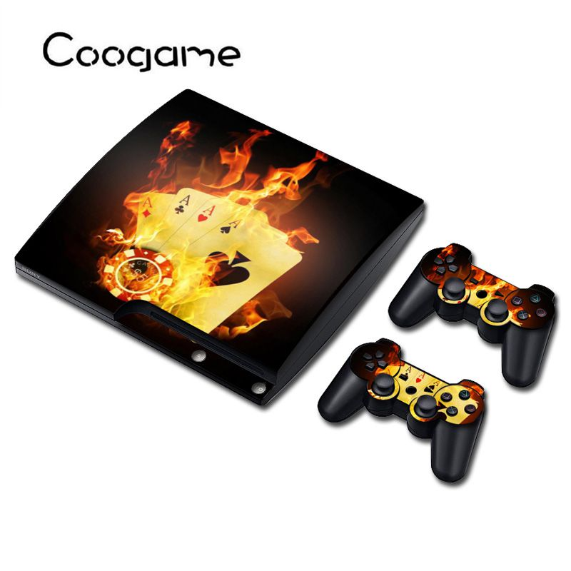 Cards Decal For PS3 Slim Console For Playstation 3 Controller Stickers