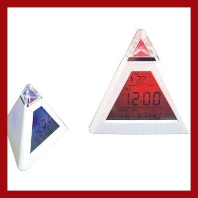 Triangle Mini  Pyramid Descktop Lcd Screen Digital Alarm Clock  LED Mood Light Growing Color Change  free shipping  new