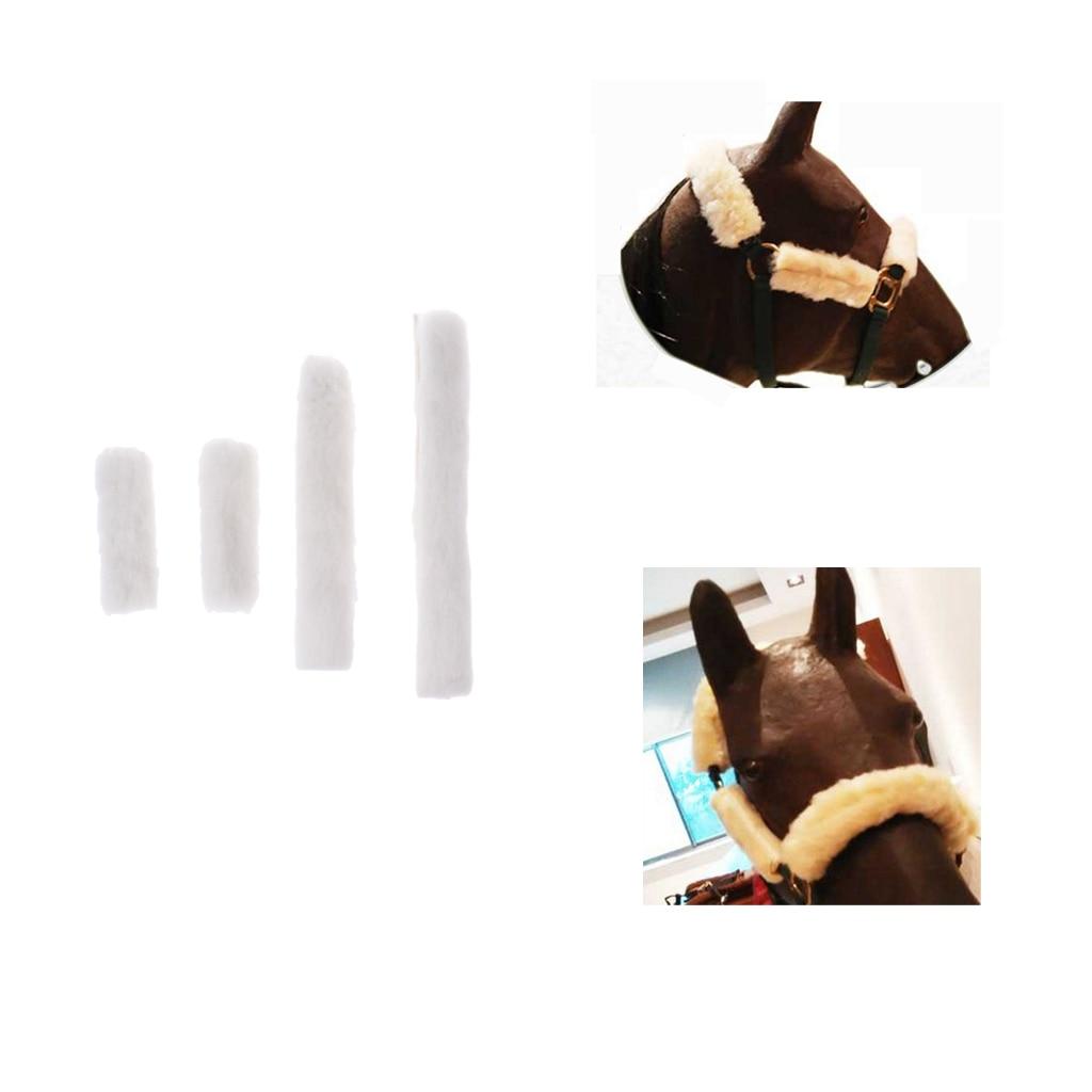 4 Pieces Durable Comfortable Horse Bridle Fleece Tube Cover Equestrian Noseband Cover Halter Protection Accessories
