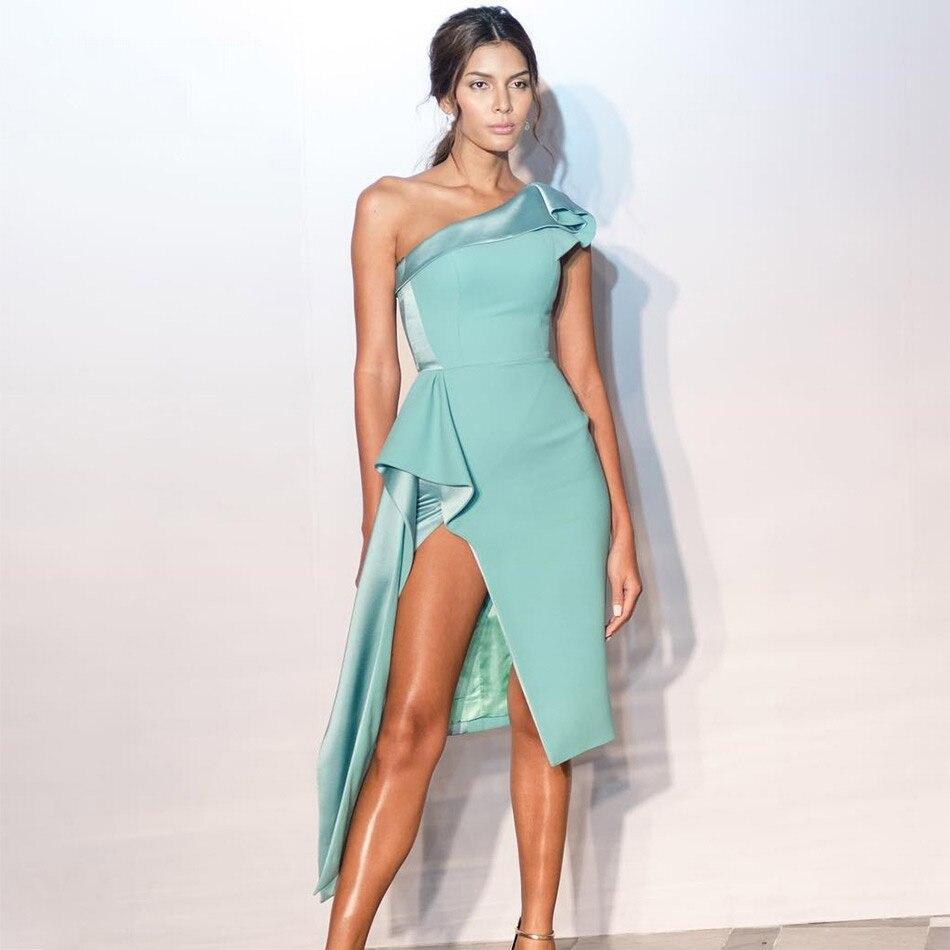 Seamyla Newest Women Summer Dress 2018 One Shoulder Asymmetrical Celebrity Party Dress Elegant Runway Vestidos Bodycon Clubwear
