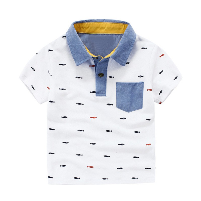 Kids Boys Casual T-shirts Summer Tops Turn-down Collar Tee Children's Shirts Clothing
