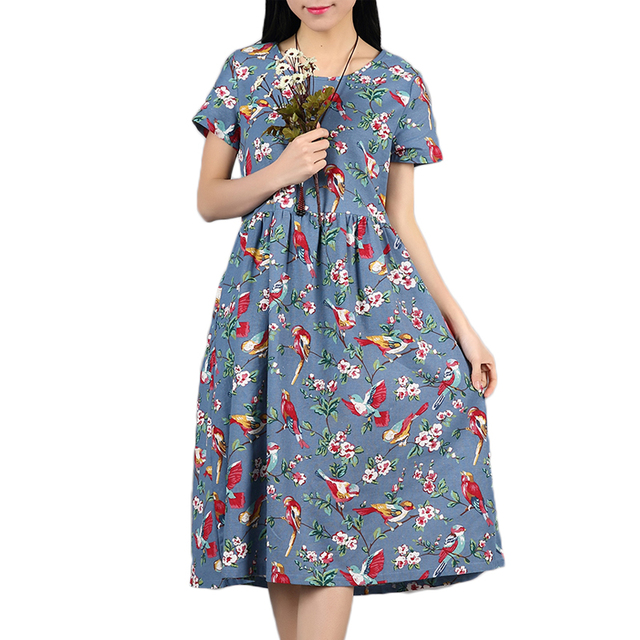 official terrific value arrives US $13.15 |Aliexpress.com : Buy Women Casual Cotton Linen Summer Dress  Vestidos Mujer Floral Print Vintage Women O neck Maxi Long Dress 2018 Party  ...