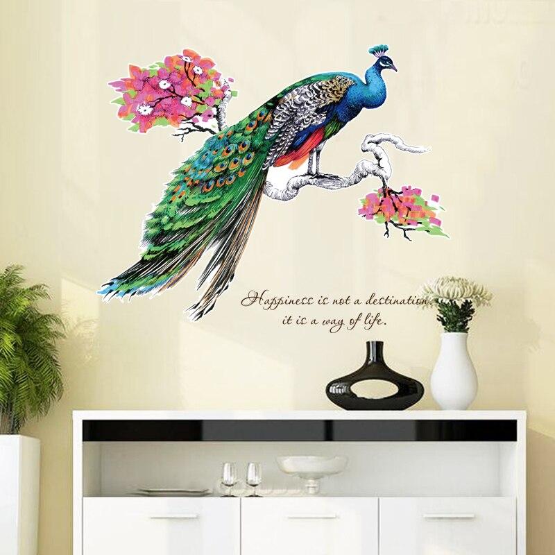 % Pfau äste Wohnkultur Adesivo De Parede Kunst Decals 3d Diy Tapete Dekoration Für Kinder Zimmer Blumen Wand Aufkleber Moderne Techniken