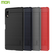 MOFi For Sony Xperia L3 Case Cover Carbon Fiber Soft TPU Back Cases Protector Silicone Phone