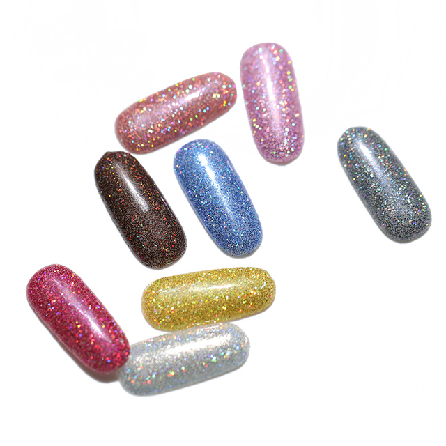 1Box 1g Platinum Shiny Nail Glitter Powder Laser Sparkly  Manicure Nail Art Chrome Pigment DIY Nail Art Decoration