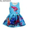 Trolls de Vestuario para Las Niñas 2017 Vestidos de Marca Vestido de Princesa Dress Kids Clothes Trolls Vestidos Infantis Niños ropa de Vestir