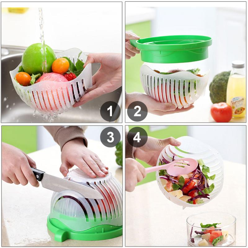 60 Seconds Fresh Healthy Salad Maker Fruit Vegetable Chopper Cutting Bowl Kitchen Accessories Tool