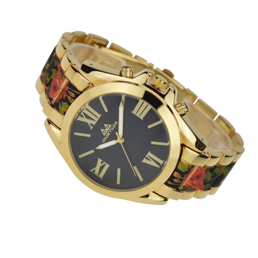 Prix pour Vente chaude montre léopard Genève femmes montre à quartz rétro montre en or pour femmes grand chiffre romain montre