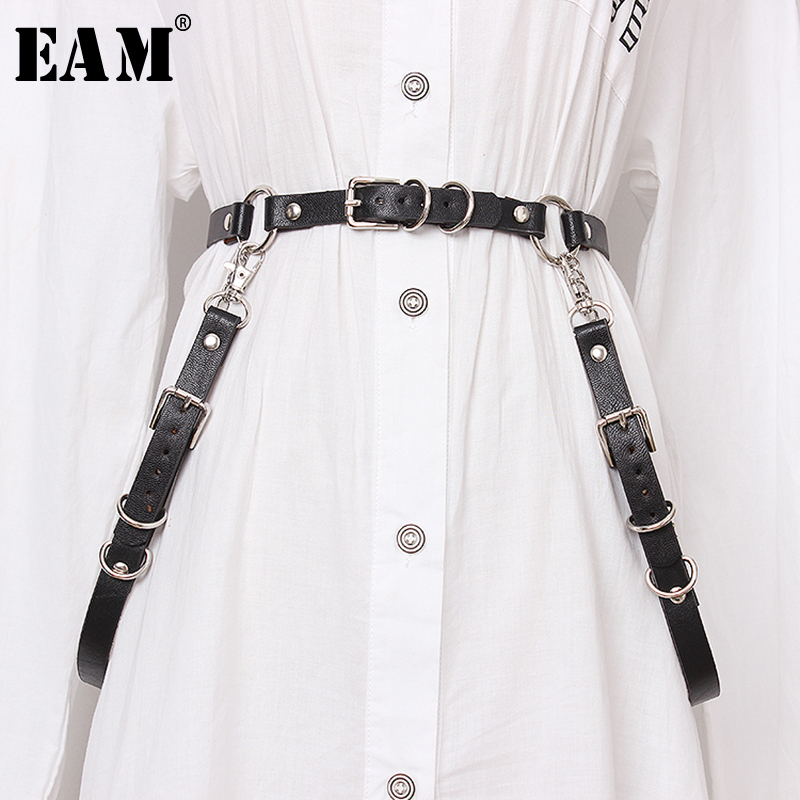 [EAM] 2020 New Spring Summer Pu Leather Black Buckle Split Joint Personality Long Belt Women Fashion Tide All-match JX463