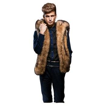 2017 Autumn Winter Mens Faux Mink Fur Coat Sleeveless Hooded Men Fur Vest Thick Warm Coat