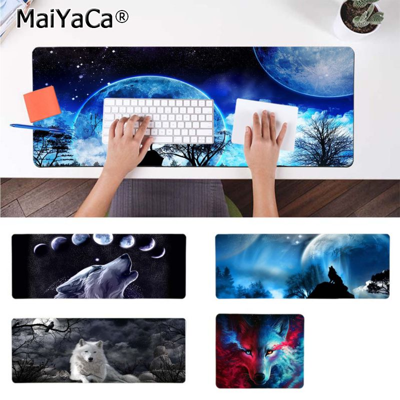 MaiYaCa New Printed The Wolf Moon Mouse Pad Gamer Play Mats Rubber Mouse Durable Desktop Mousepad