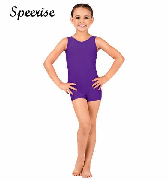 Speerise dzieci Tank Biketard bez rękawów dziewczyny Unitard Spandex Dancewear gimnastyka trykot Shorty chłopcy maluch trykot baletowy