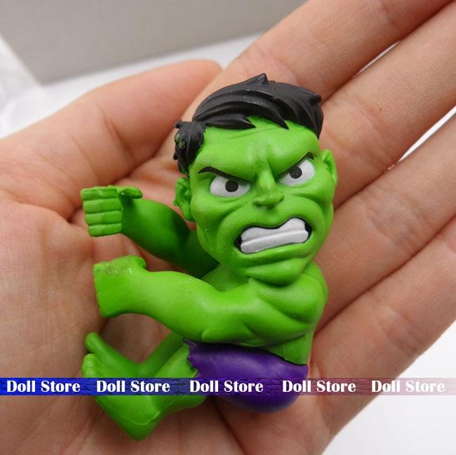 5.5cm Q version 1pcs pvc High quality Hulk super hero action figure best kids toys for boys