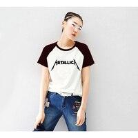 Metallica camiseta Para Mujer Negro Blanco de La Manga de Raglán Impresión de la Letra camiseta Femenina Ropa Swag de la Música Heavy Metal Punk Top Tee gótico