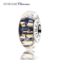 ATHENAIE Genuine Murano Glass 925 Silver Core Dark Blue Sand With Gold Foil Charm Bead Fit